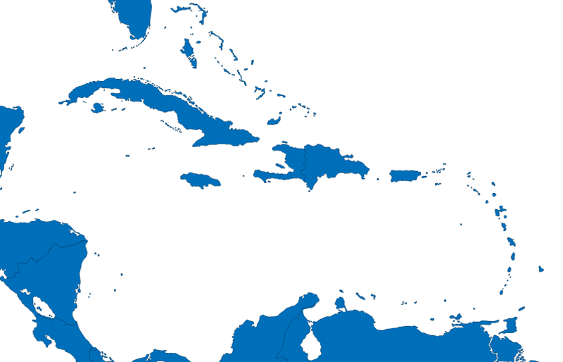 An image of a map of the Caribbean.