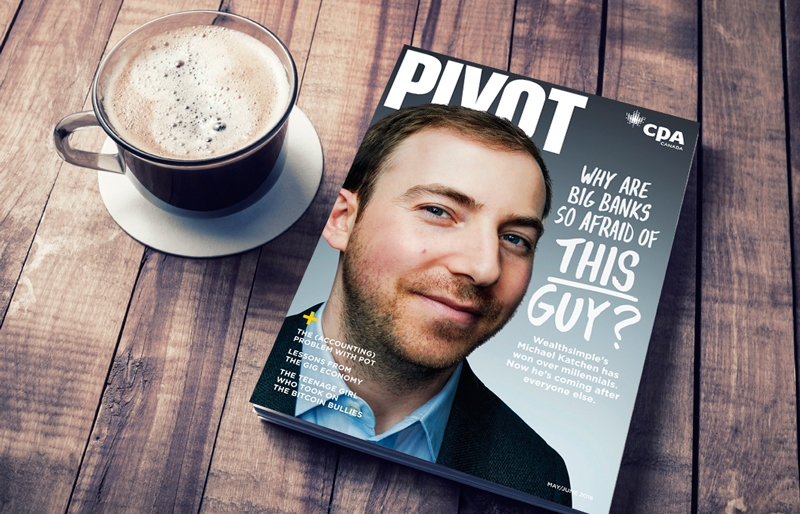May 2018 Pivot magazine siting on a table beside a cup of coffee