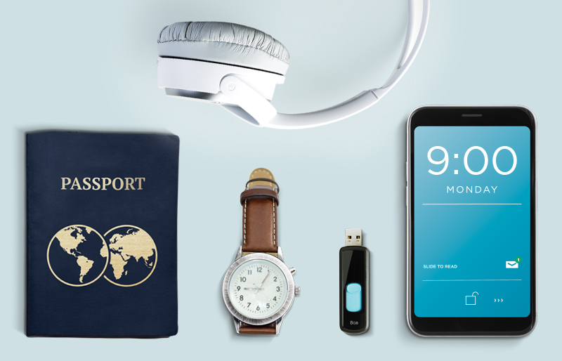 A passport, watch, memory stick, smartphone and headphones.