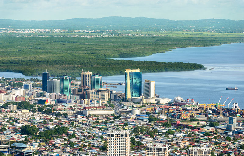 Port of Spain, Trinidad and Tobago, city and water landscape